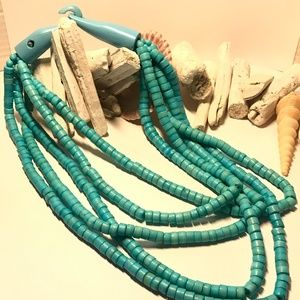 Wooden Thick Turquoise Multi-Strand  Necklace